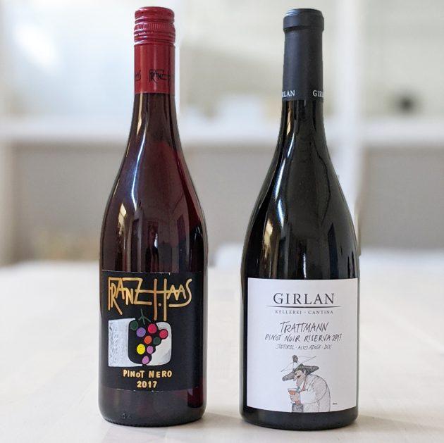 Flaschenabbildung Franz Haas Pinot Nero und Cantina Girlan Trattmann Pinot Noir Riserva